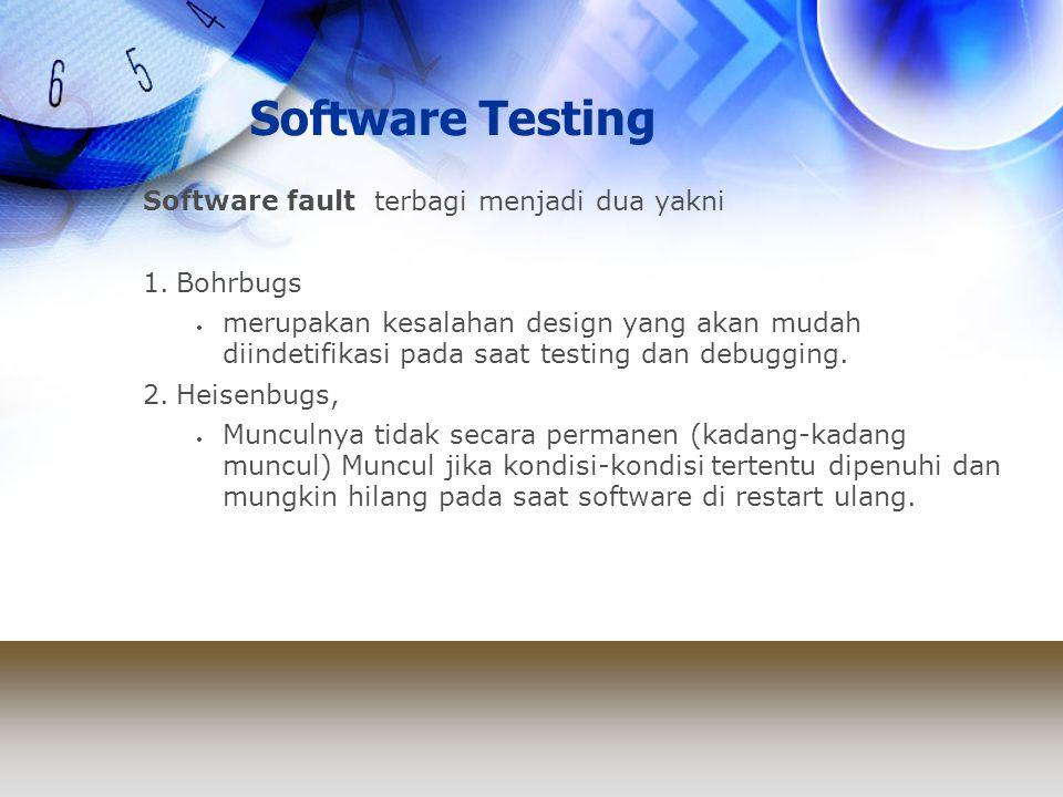 Software Testing Software fault terbagi menjadi dua yakni Bohrbugs