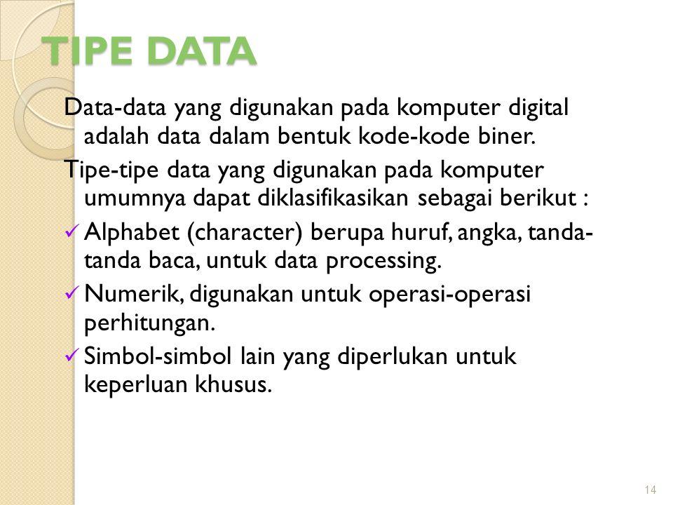 TIPE DATA Data-data yang digunakan pada komputer digital adalah data dalam bentuk kode-kode biner.