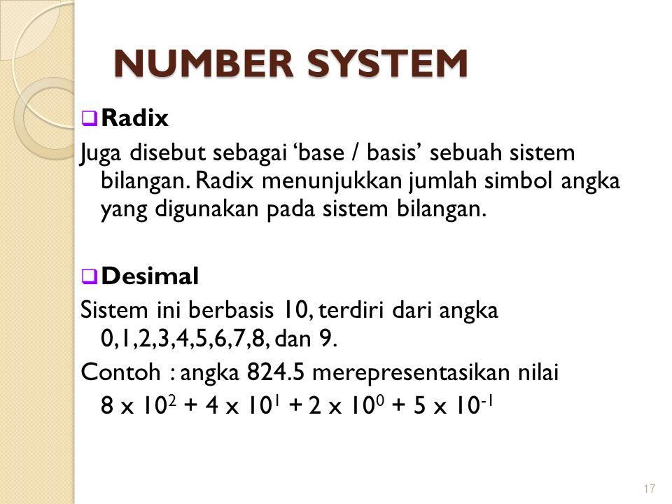 NUMBER SYSTEM Radix.