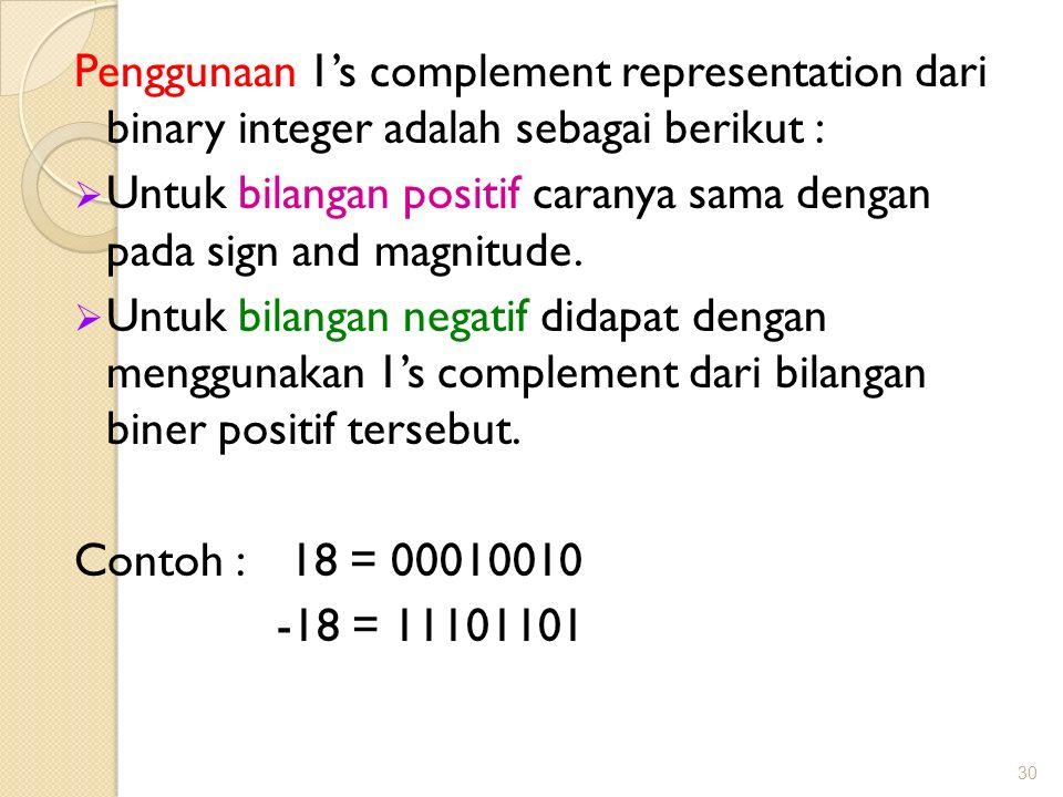 Penggunaan 1's complement representation dari binary integer adalah sebagai berikut :