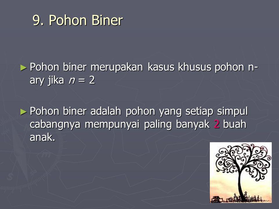 9. Pohon Biner Pohon biner merupakan kasus khusus pohon n-ary jika n = 2.