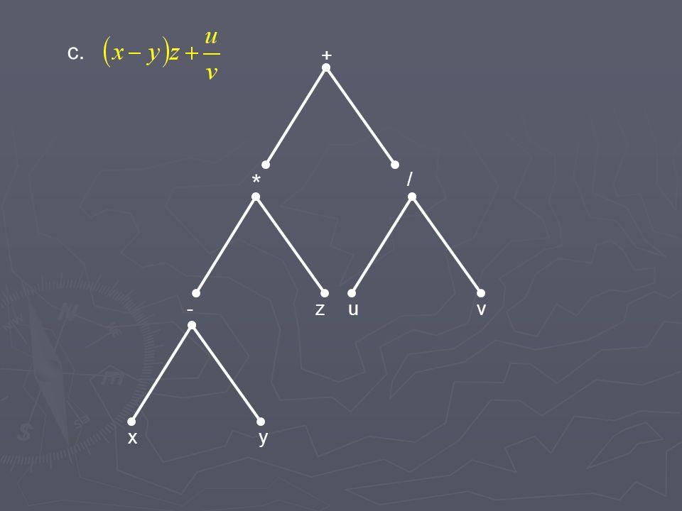 c. + * / - z u v x y