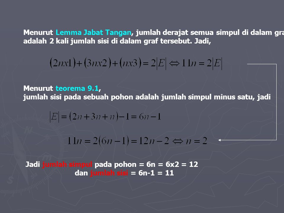 Menurut Lemma Jabat Tangan, jumlah derajat semua simpul di dalam graf