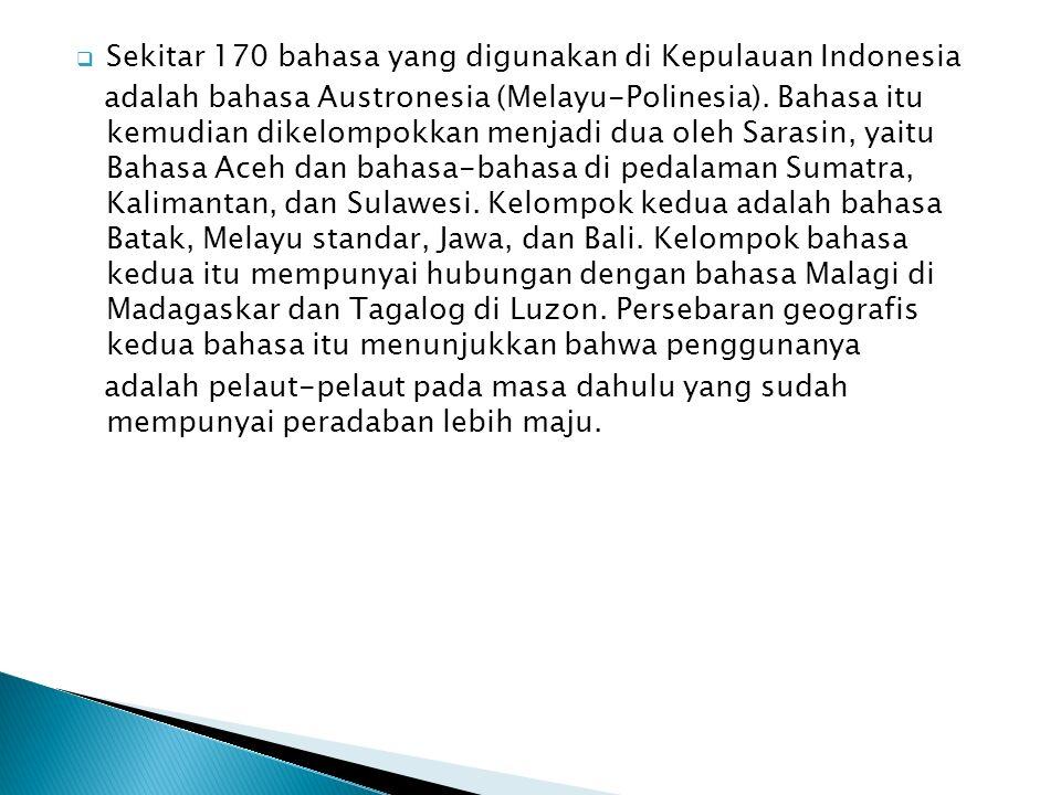 Sekitar 170 bahasa yang digunakan di Kepulauan Indonesia