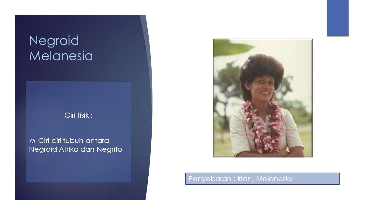 Negroid Melanesia Ciri fisik :