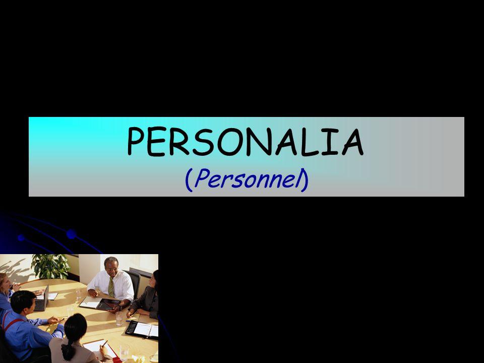 PERSONALIA (Personnel)