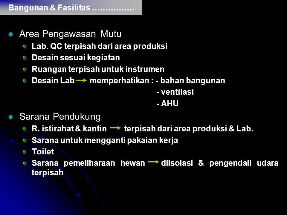 Area Pengawasan Mutu Sarana Pendukung Bangunan & Fasilitas …………….