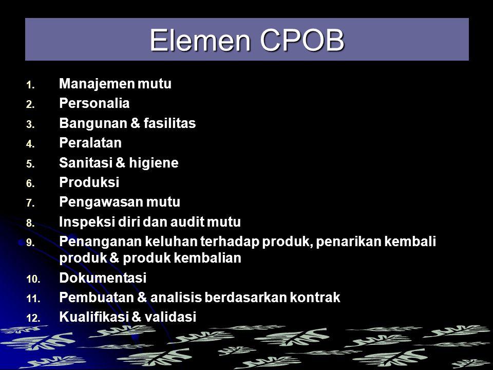 Elemen CPOB Manajemen mutu Personalia Bangunan & fasilitas Peralatan