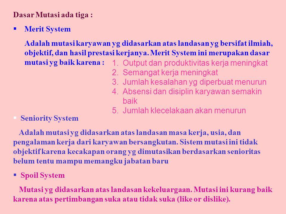 Dasar Mutasi ada tiga : Merit System.