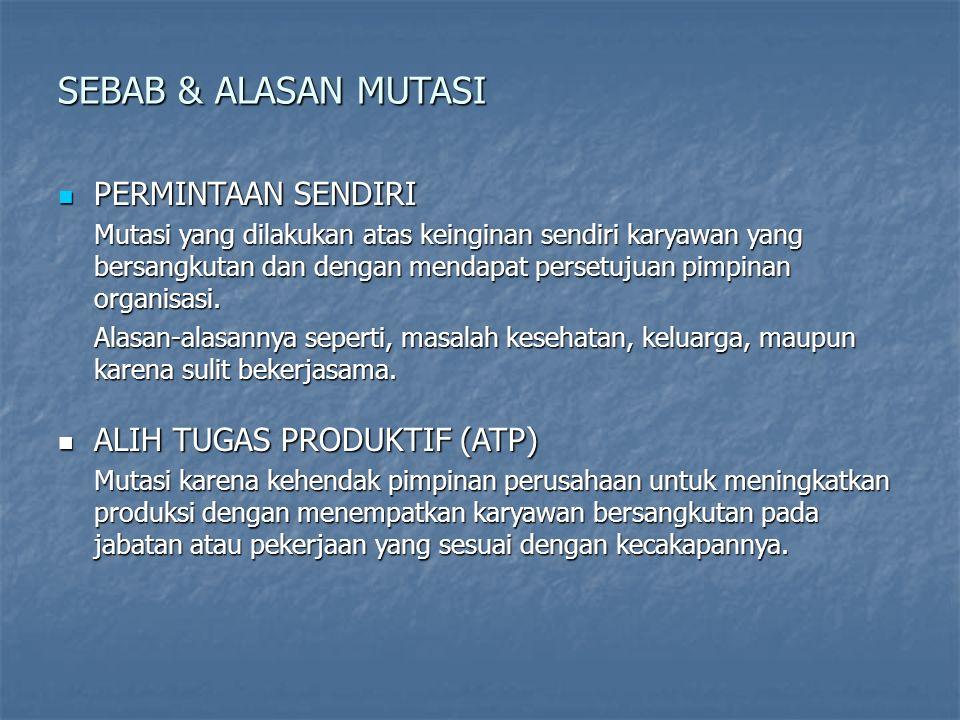 SEBAB & ALASAN MUTASI PERMINTAAN SENDIRI ALIH TUGAS PRODUKTIF (ATP)