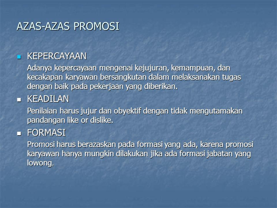 AZAS-AZAS PROMOSI KEPERCAYAAN KEADILAN FORMASI