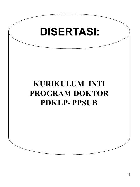 KURIKULUM INTI PROGRAM DOKTOR PDKLP- PPSUB DISERTASI: