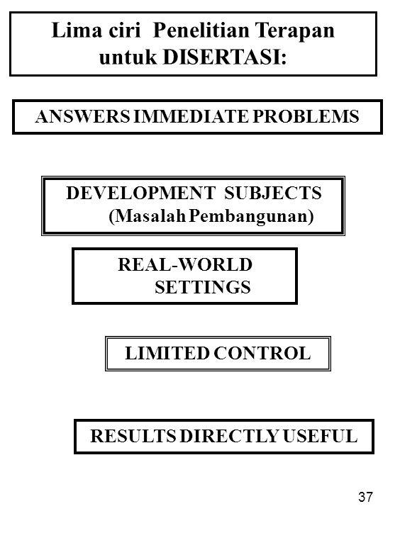 Lima ciri Penelitian Terapan untuk DISERTASI: