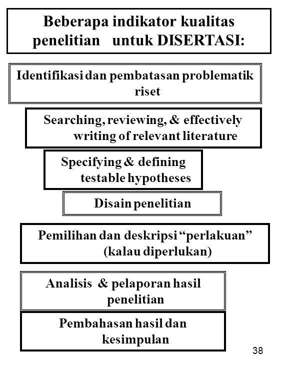 Beberapa indikator kualitas penelitian untuk DISERTASI:
