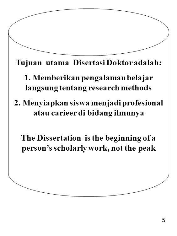Tujuan utama Disertasi Doktor adalah: