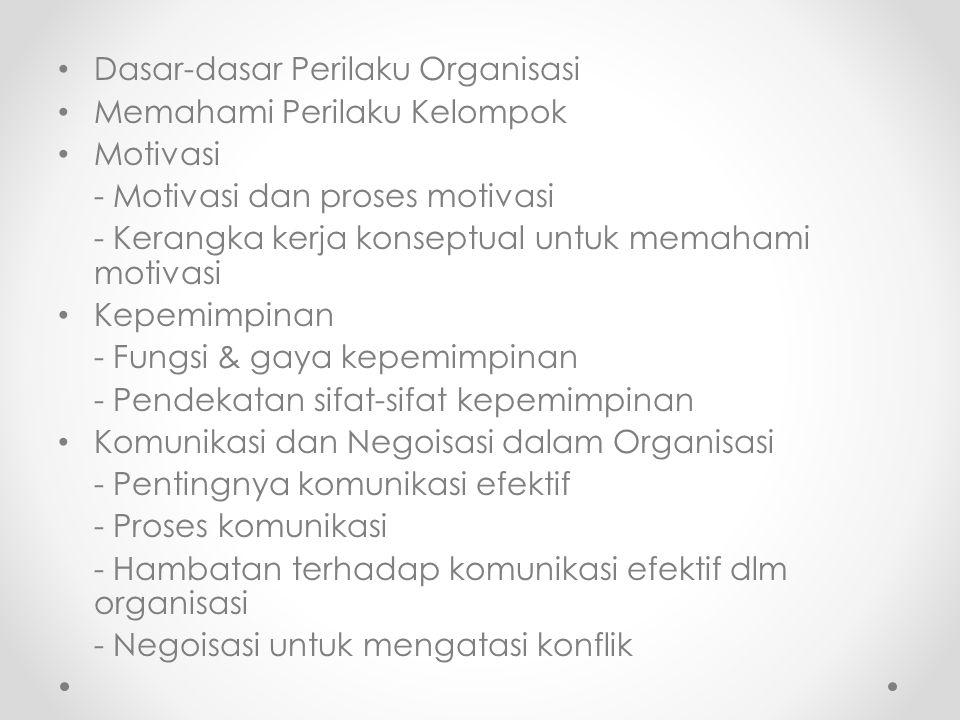 Dasar-dasar Perilaku Organisasi