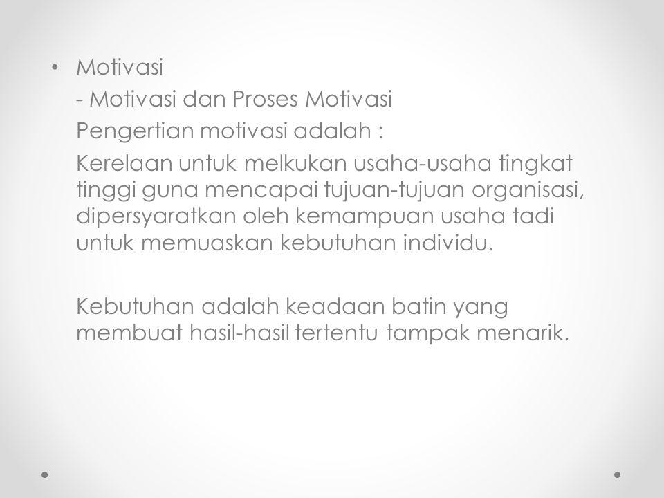 Motivasi - Motivasi dan Proses Motivasi. Pengertian motivasi adalah :