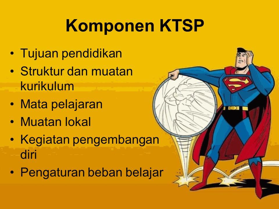 Komponen KTSP Tujuan pendidikan Struktur dan muatan kurikulum