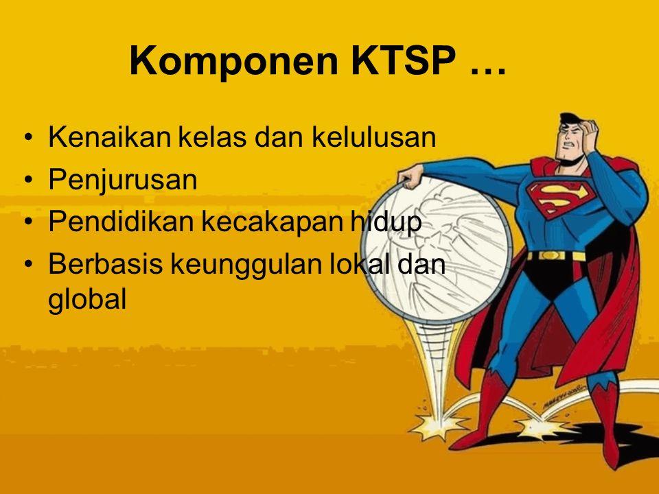 Komponen KTSP … Kenaikan kelas dan kelulusan Penjurusan
