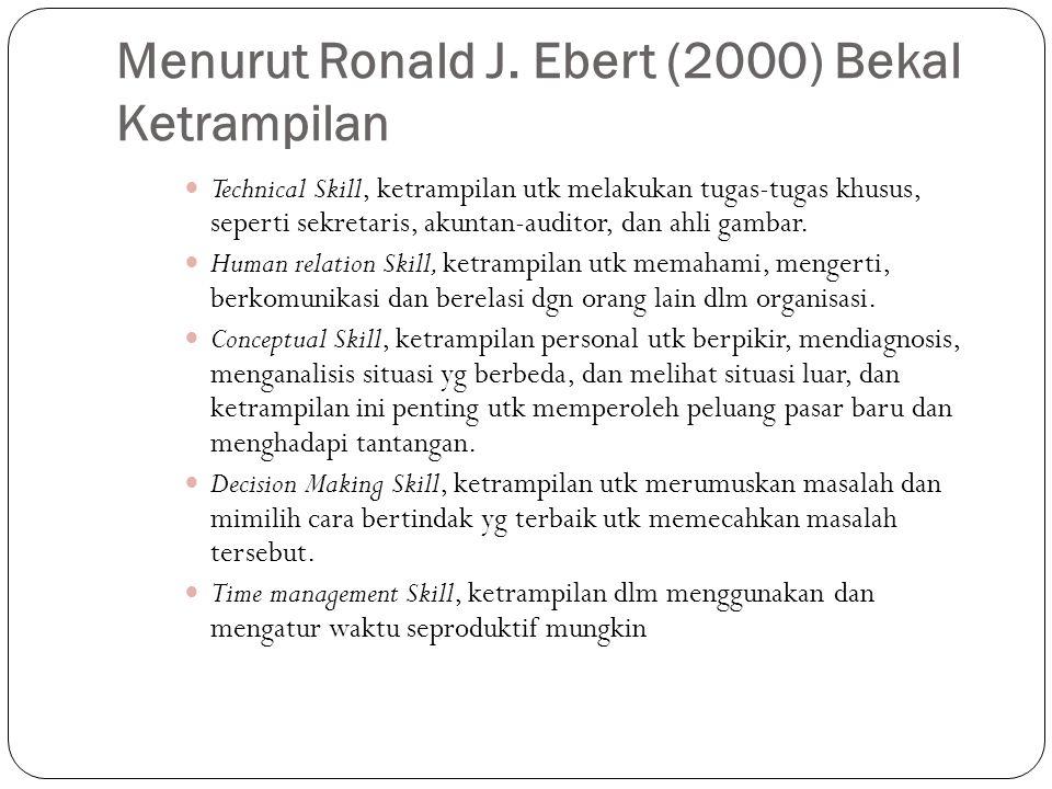Menurut Ronald J. Ebert (2000) Bekal Ketrampilan