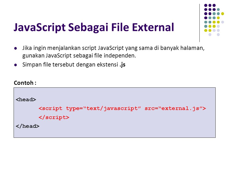 JavaScript Sebagai File External