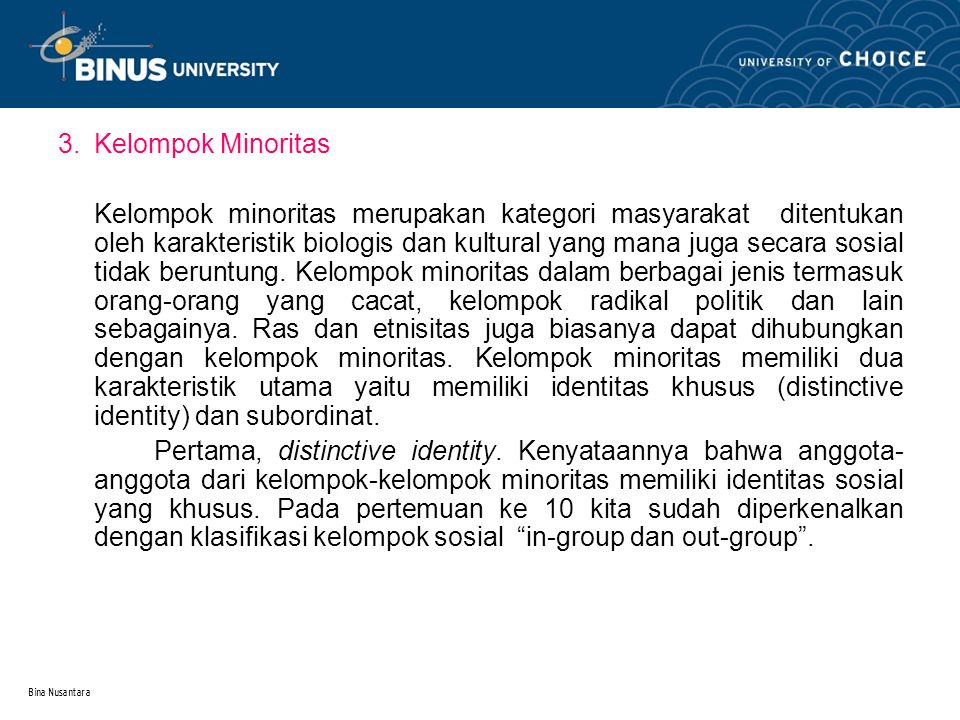 3. Kelompok Minoritas