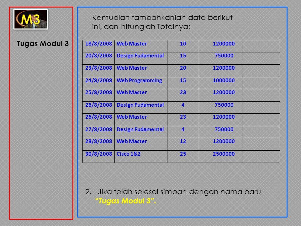 m3 Kemudian tambahkanlah data berikut ini, dan hitunglah Totalnya: