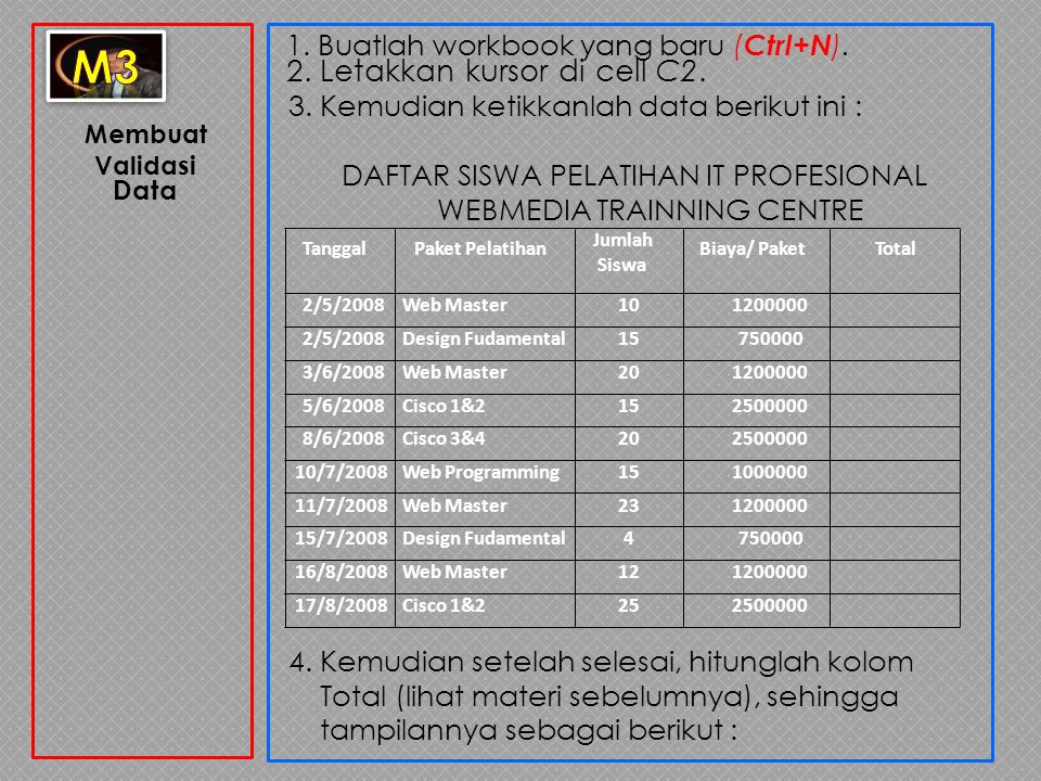 DAFTAR SISWA PELATIHAN IT PROFESIONAL WEBMEDIA TRAINNING CENTRE