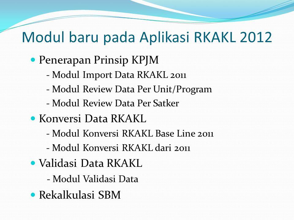 Modul baru pada Aplikasi RKAKL 2012