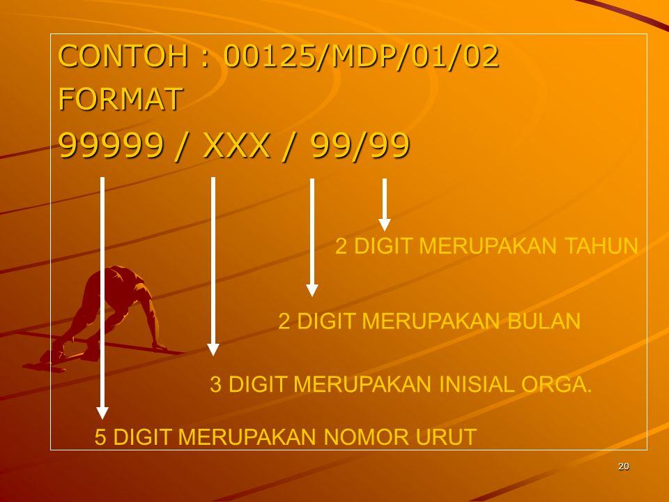 CONTOH : 00125/MDP/01/02 FORMAT 99999 / XXX / 99/99