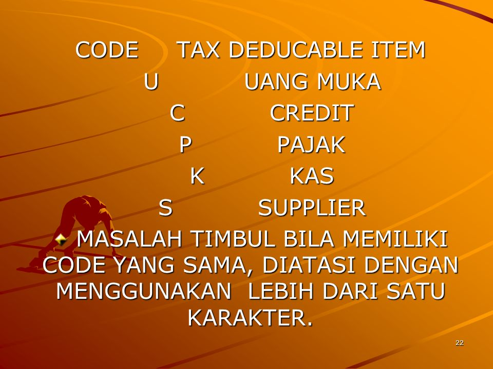 CODE TAX DEDUCABLE ITEM