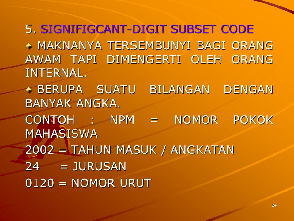 5. SIGNIFIGCANT-DIGIT SUBSET CODE