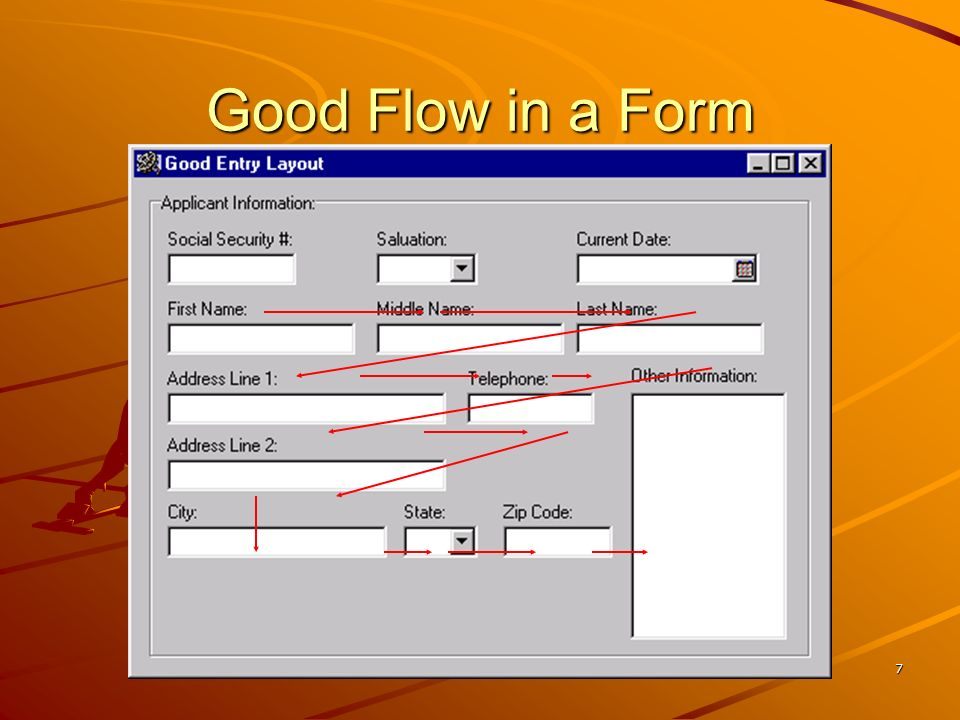 Good Flow in a Form No additional notes.