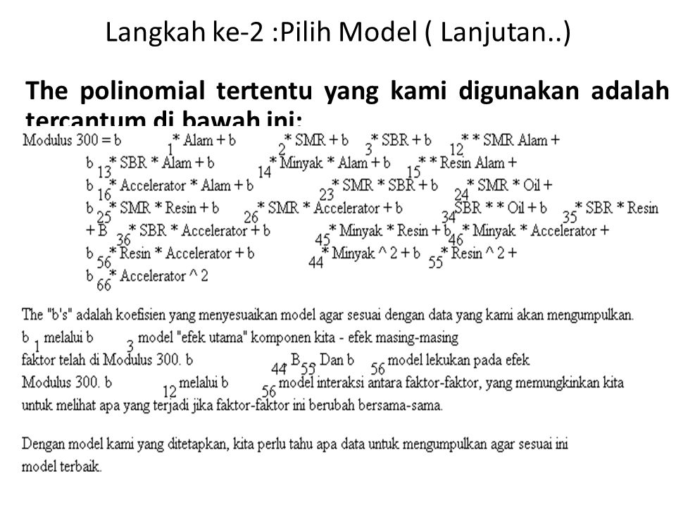Langkah ke-2 :Pilih Model ( Lanjutan..)