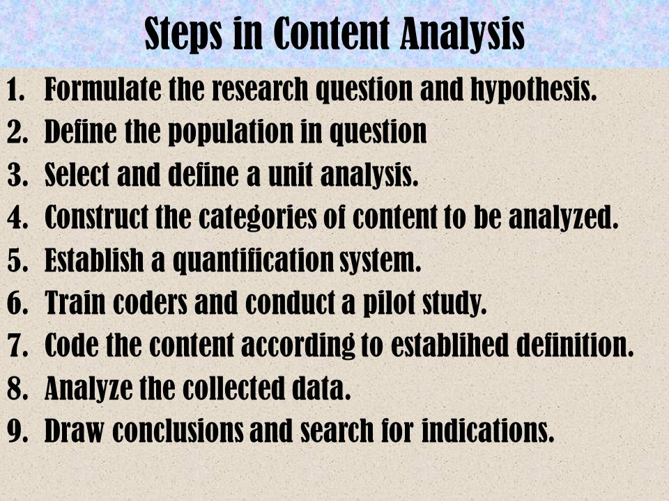 Steps in Content Analysis