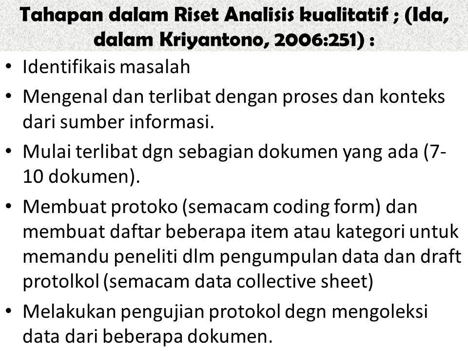 Tahapan dalam Riset Analisis kualitatif ; (Ida, dalam Kriyantono, 2006:251) :