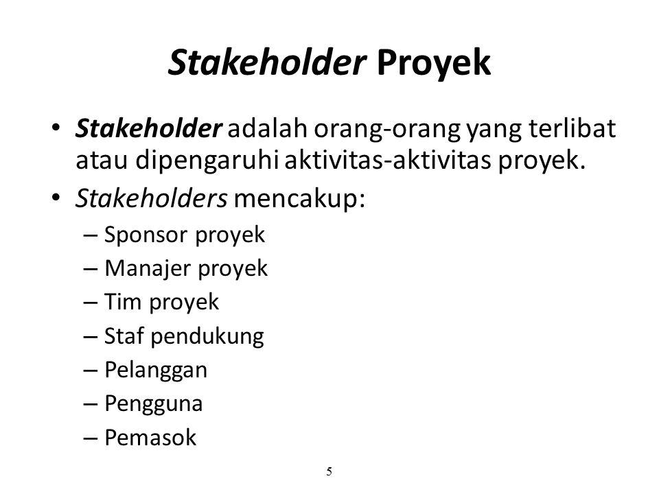 Stakeholder Proyek Stakeholder adalah orang-orang yang terlibat atau dipengaruhi aktivitas-aktivitas proyek.