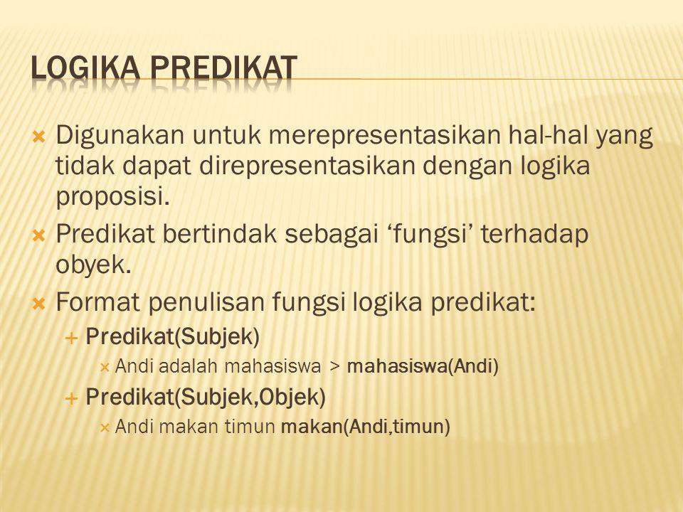 Logika predikat Digunakan untuk merepresentasikan hal-hal yang tidak dapat direpresentasikan dengan logika proposisi.