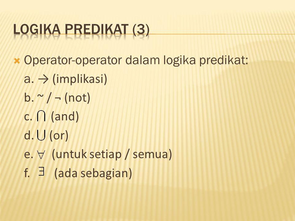 Logika predikat (3) Operator-operator dalam logika predikat: