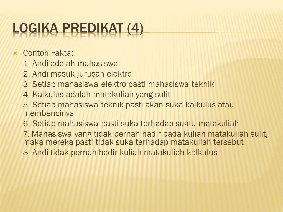 Logika predikat (4) Contoh Fakta: 1. Andi adalah mahasiswa