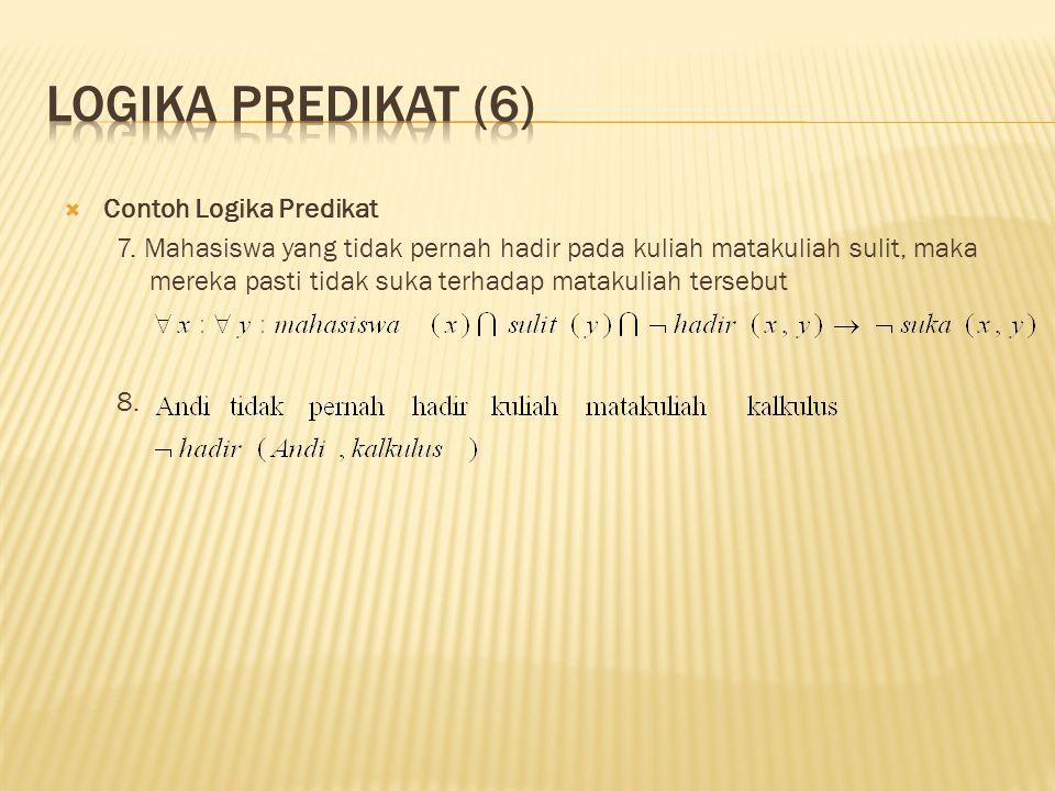 Logika predikat (6) Contoh Logika Predikat