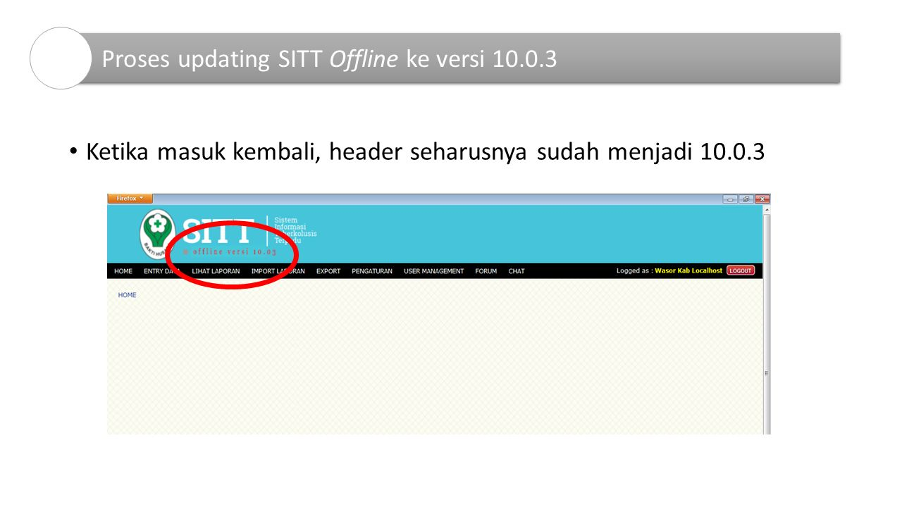 Proses updating SITT Offline ke versi 10.0.3