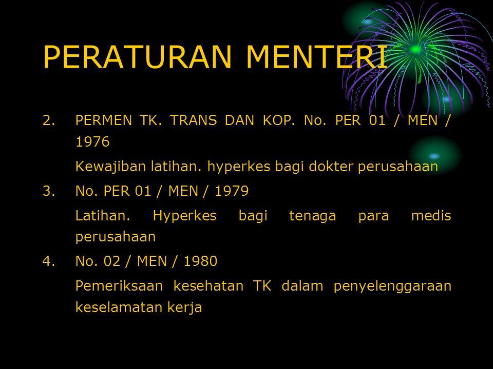 PERATURAN MENTERI PERMEN TK. TRANS DAN KOP. No. PER 01 / MEN / 1976