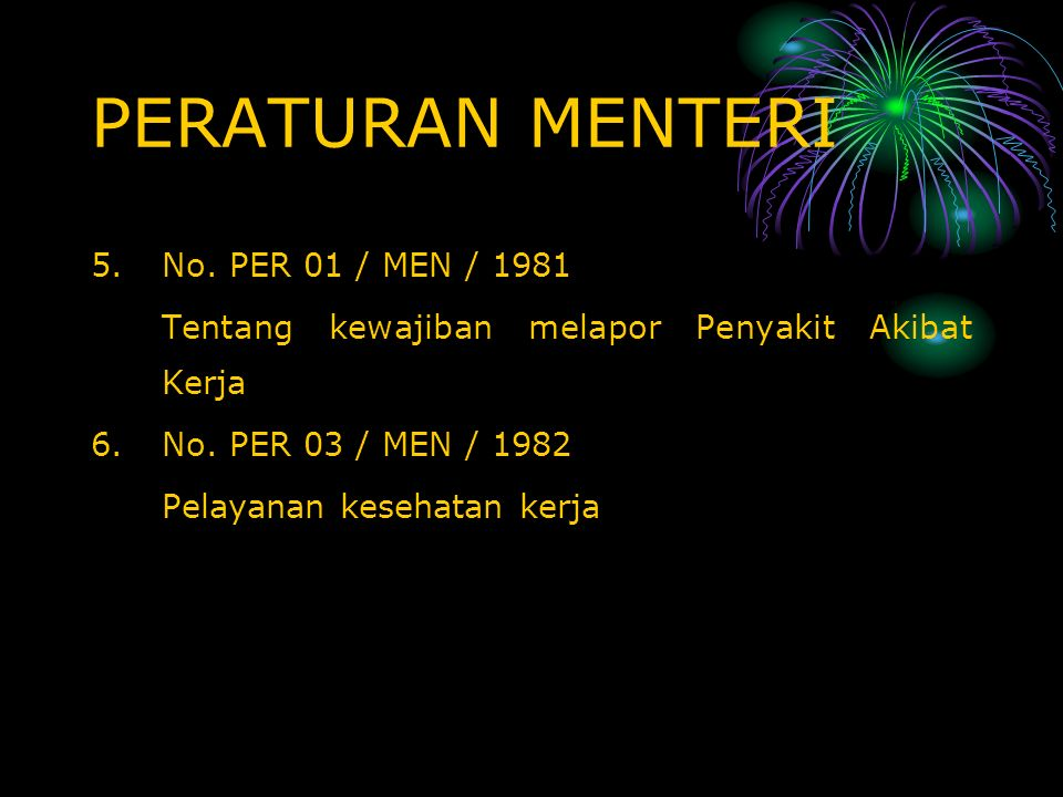 PERATURAN MENTERI No. PER 01 / MEN / 1981