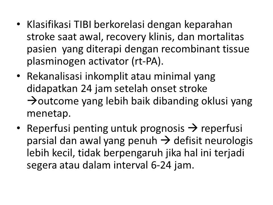 Klasifikasi TIBI berkorelasi dengan keparahan stroke saat awal, recovery klinis, dan mortalitas pasien yang diterapi dengan recombinant tissue plasminogen activator (rt-PA).