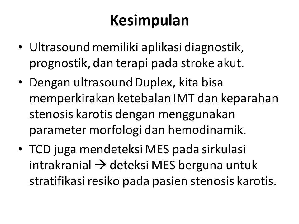 Kesimpulan Ultrasound memiliki aplikasi diagnostik, prognostik, dan terapi pada stroke akut.