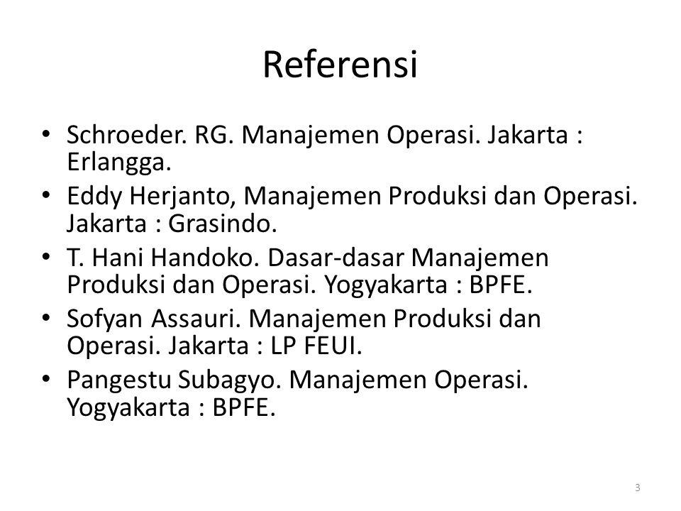 Referensi Schroeder. RG. Manajemen Operasi. Jakarta : Erlangga.