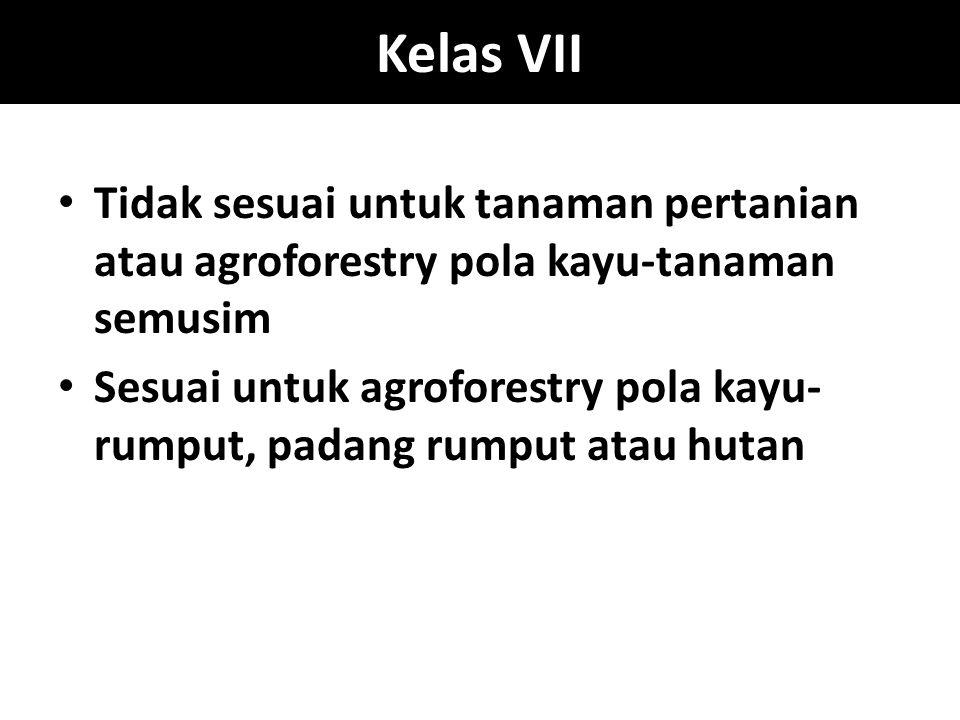 Kelas VII Tidak sesuai untuk tanaman pertanian atau agroforestry pola kayu-tanaman semusim.