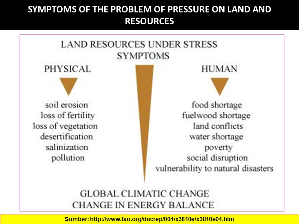 SYMPTOMS OF THE PROBLEM OF PRESSURE ON LAND AND RESOURCES