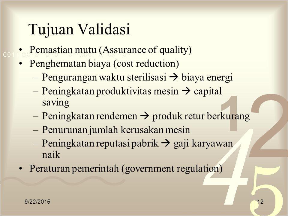 Tujuan Validasi Pemastian mutu (Assurance of quality)